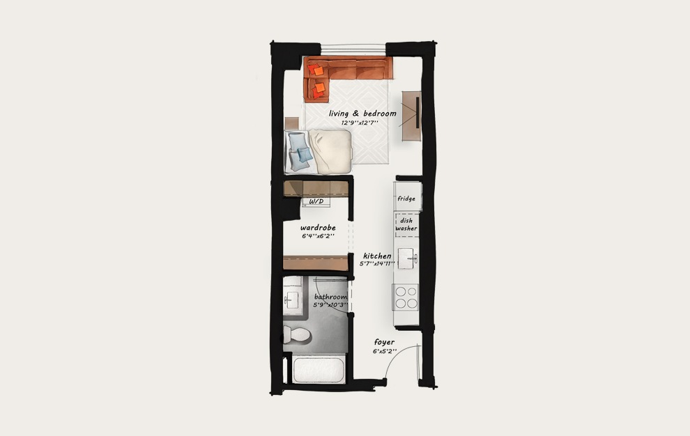 A1 - Studio floorplan layout with 1 bath and 423 square feet.