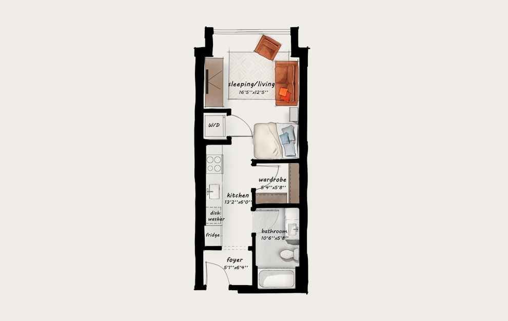 A2 - Studio floorplan layout with 1 bath and 445 square feet.