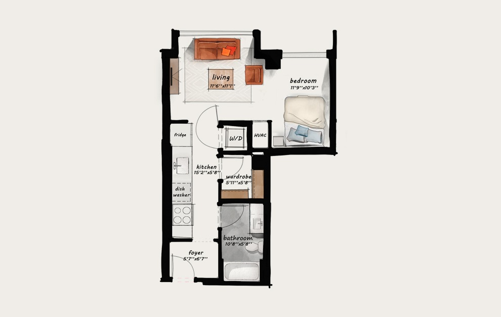 AA1 - Studio floorplan layout with 1 bath and 565 square feet.