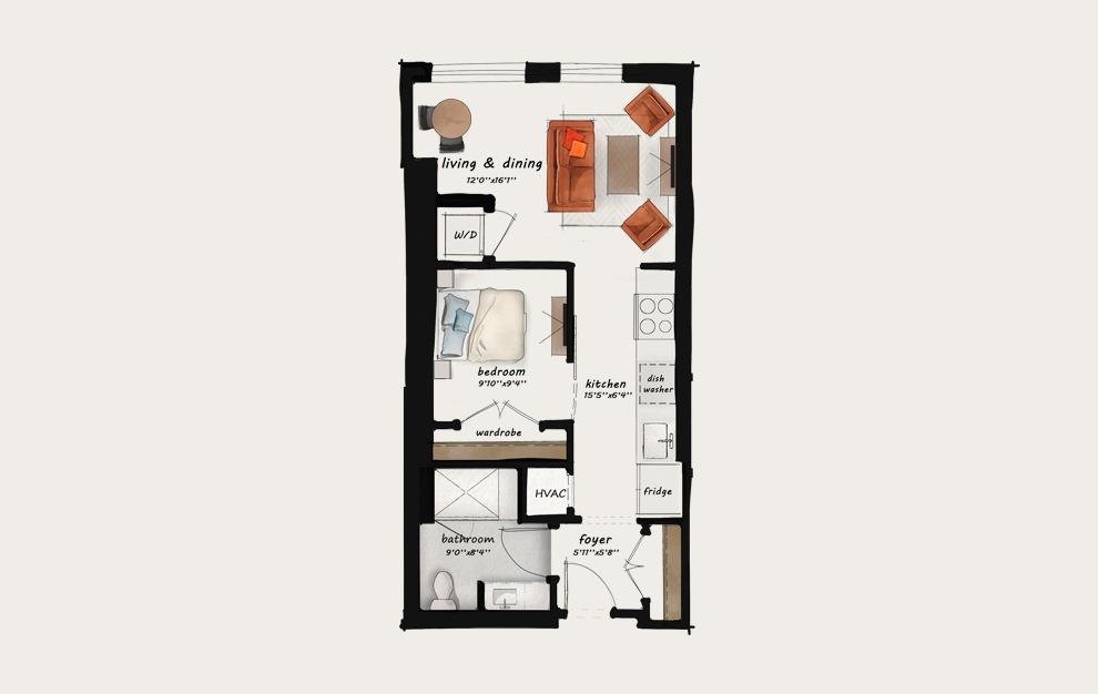 AA2 - Studio floorplan layout with 1 bath and 597 square feet. (Floor 1)