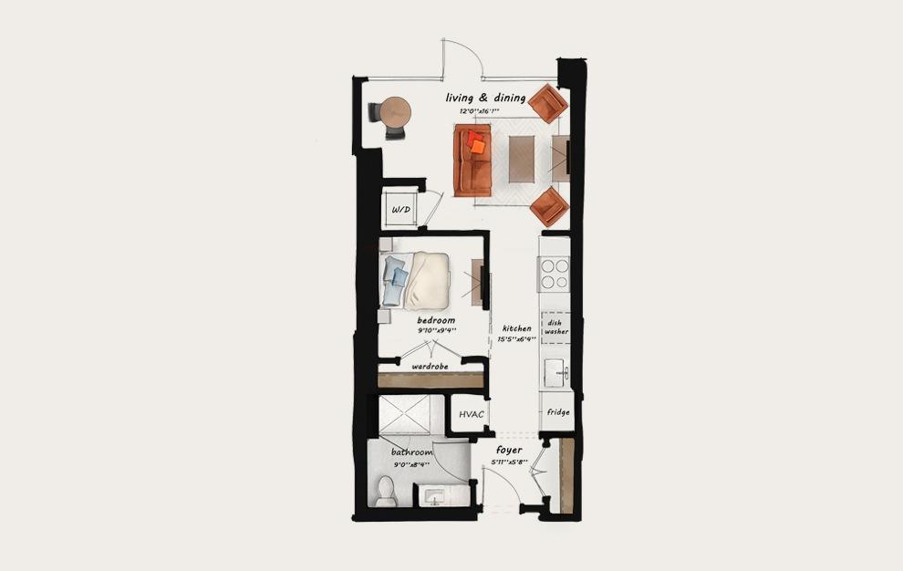 AA2 - Studio floorplan layout with 1 bath and 597 square feet. (Floor 2)