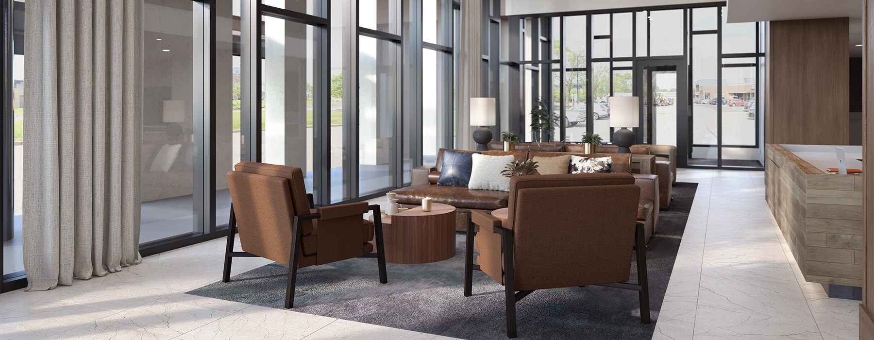 Spacious and well lti lobby with plenty of seating and room for entertaining.