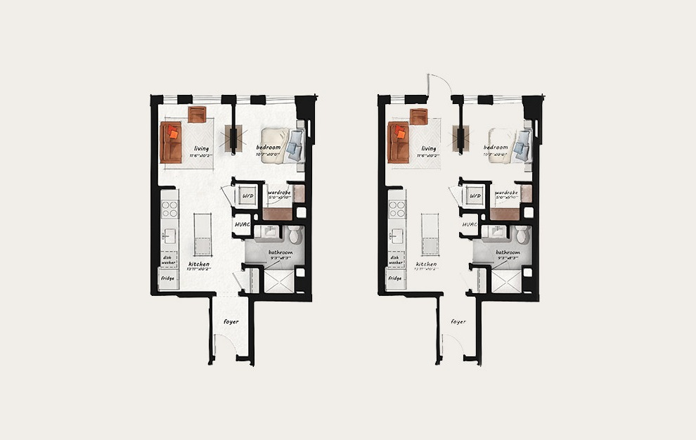 B1 - 1 bedroom floorplan layout with 1 bath and 616 square feet.