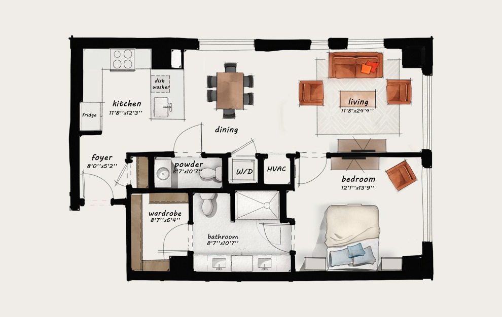 B10 - 1 bedroom floorplan layout with 1 bath and 918 square feet.