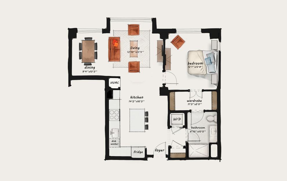 B11 - 1 bedroom floorplan layout with 1 bath and 963 square feet.