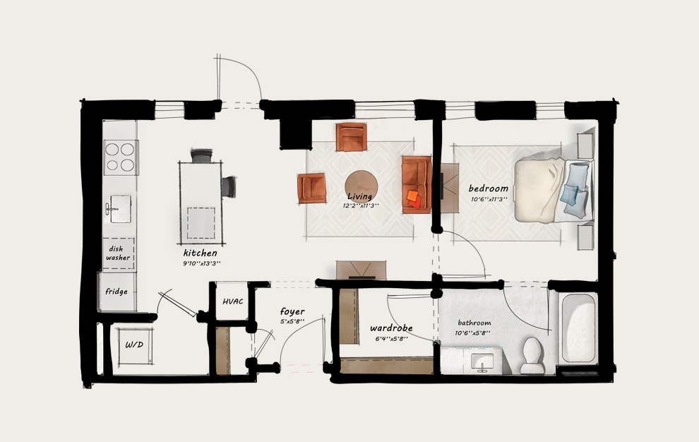 B2 - 1 bedroom floorplan layout with 1 bath and 621 square feet.