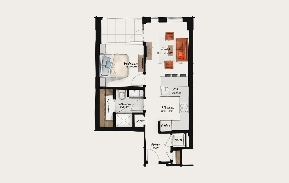 B3 - 1 bedroom floorplan layout with 1 bath and 654 square feet.