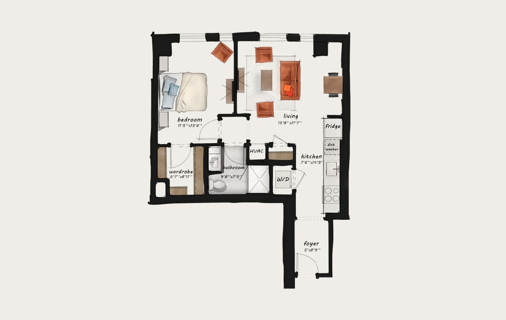 B4 - 1 bedroom floorplan layout with 1 bath and 749 square feet.