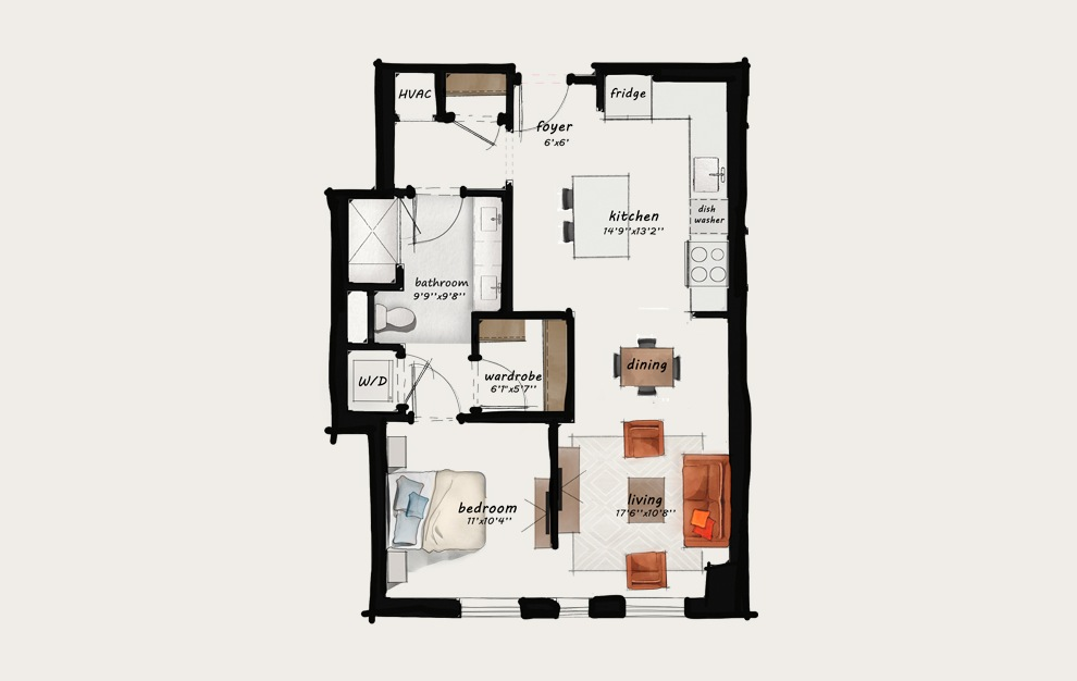 B5 - 1 bedroom floorplan layout with 1 bath and 786 square feet.
