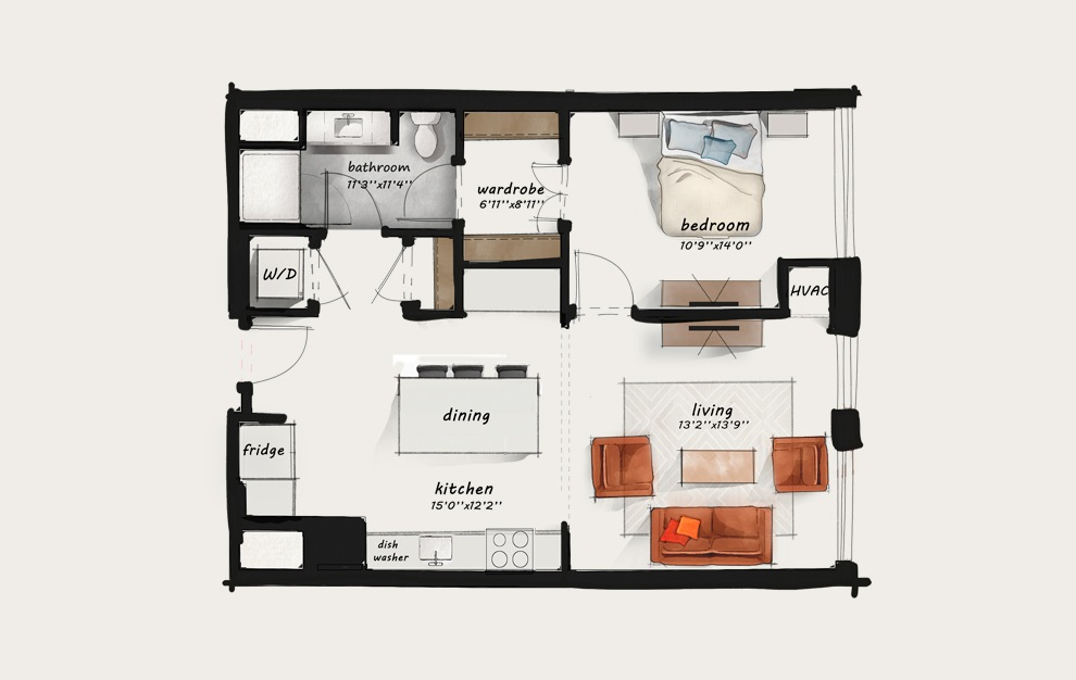 B6 - 1 bedroom floorplan layout with 1 bath and 810 square feet.