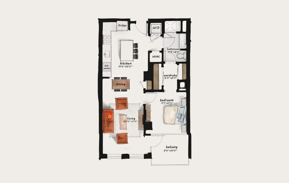 B7 - 1 bedroom floorplan layout with 1 bath and 814 square feet.