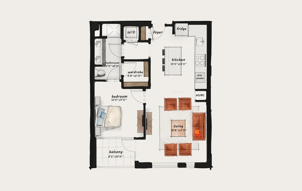 B8 - 1 bedroom floorplan layout with 1 bath and 856 square feet.