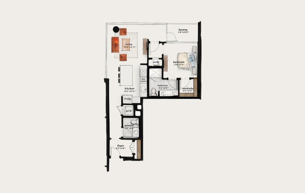 B9 - 1 bedroom floorplan layout with 1 bath and 878 square feet.