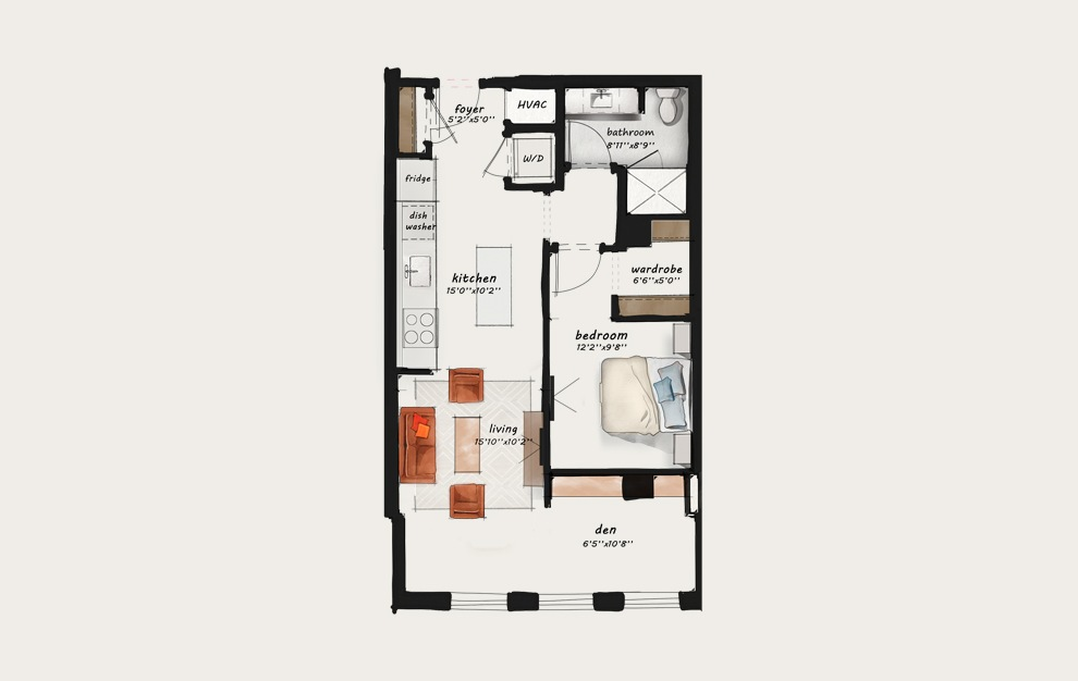 BB1 - 1 bedroom floorplan layout with 1 bath and 775 square feet.