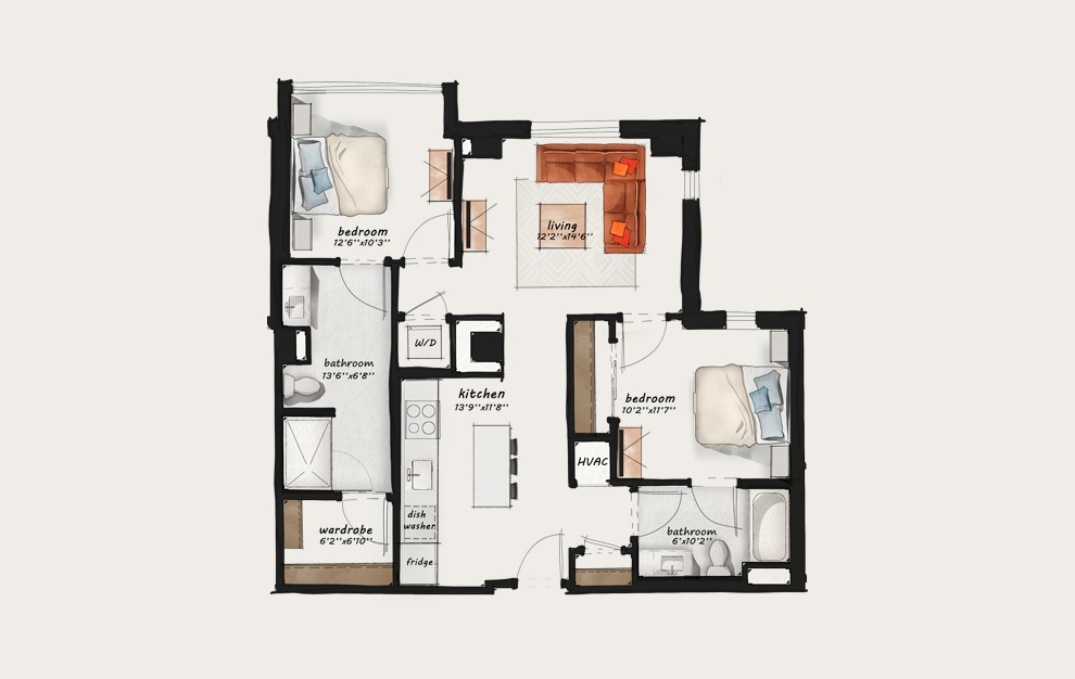 C1 - 2 bedroom floorplan layout with 2 baths and 1024 square feet.
