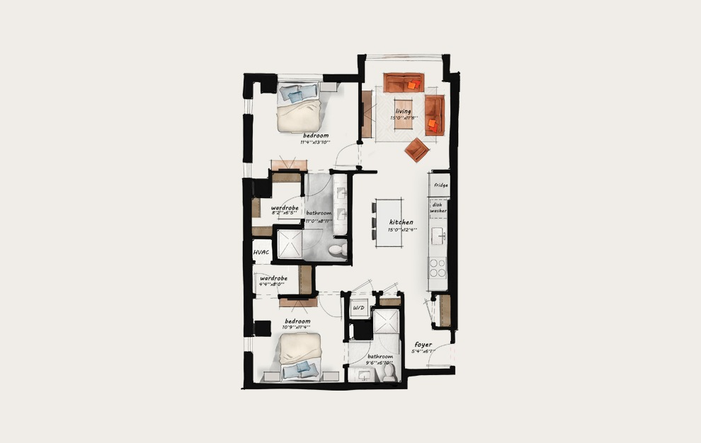 C2 - 2 bedroom floorplan layout with 2 baths and 1128 square feet.