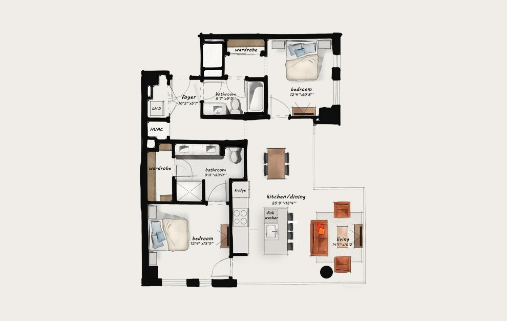 C3 - 2 bedroom floorplan layout with 2 baths and 1170 square feet.
