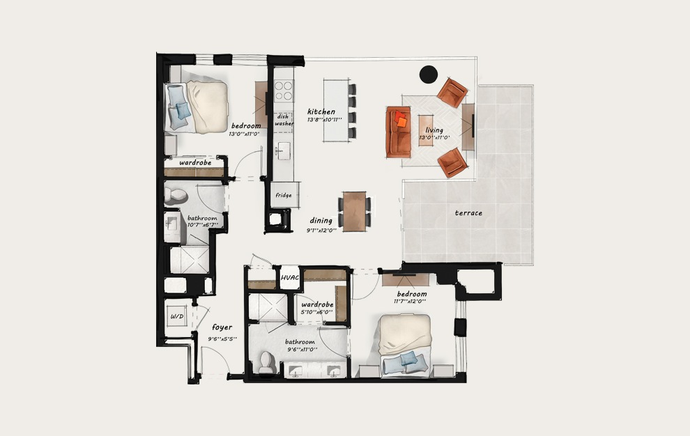 C4 - 2 bedroom floorplan layout with 2 baths and 1166 square feet.