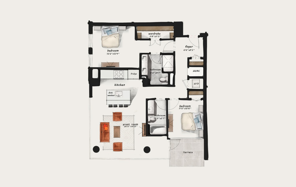 C5 - 2 bedroom floorplan layout with 2 baths and 1271 square feet.