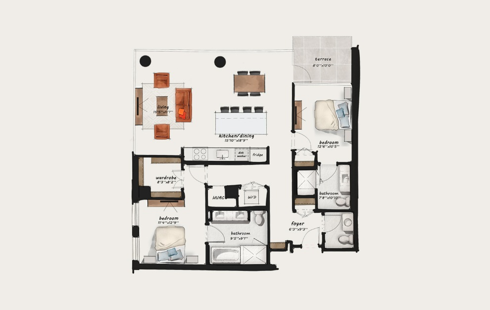 C6 - 2 bedroom floorplan layout with 2 baths and 1354 square feet.