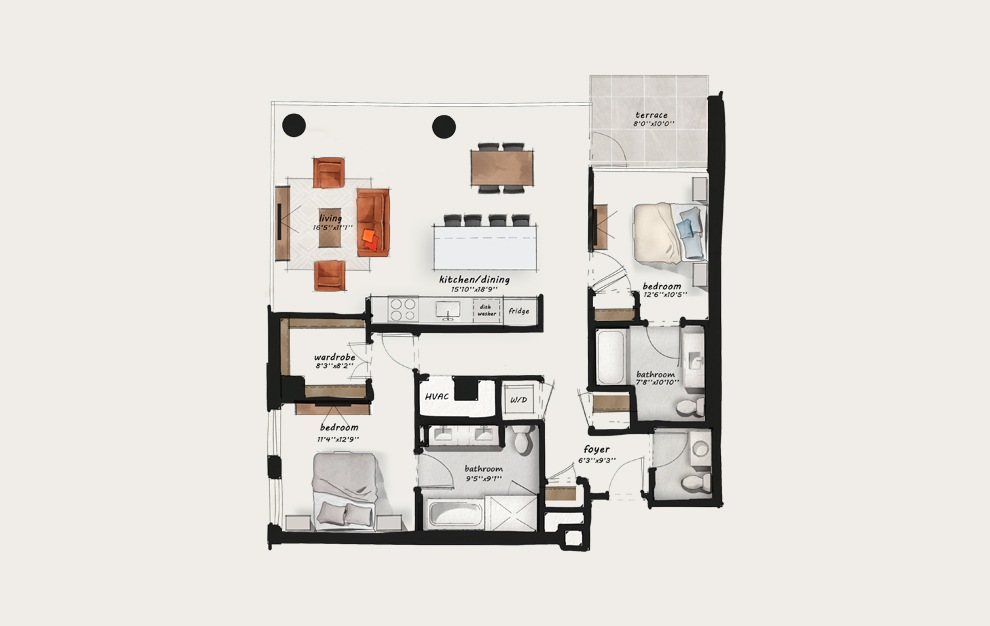 C6.A - 2 bedroom floorplan layout with 2 baths and 1354 square feet.