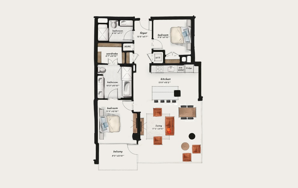 C7 - 2 bedroom floorplan layout with 2 baths and 1399 square feet.