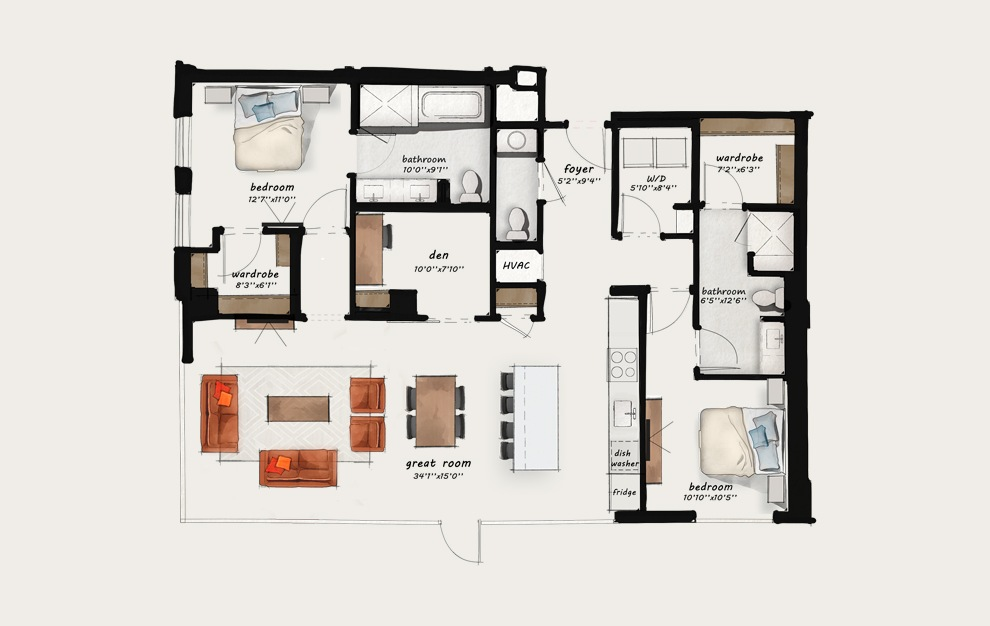 CC1 - 2 bedroom floorplan layout with 2 baths and 1527 square feet.