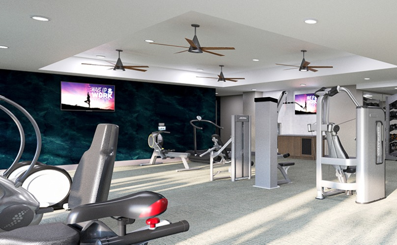 Spacious and well lit fitness center with free weights and cardio equipment.