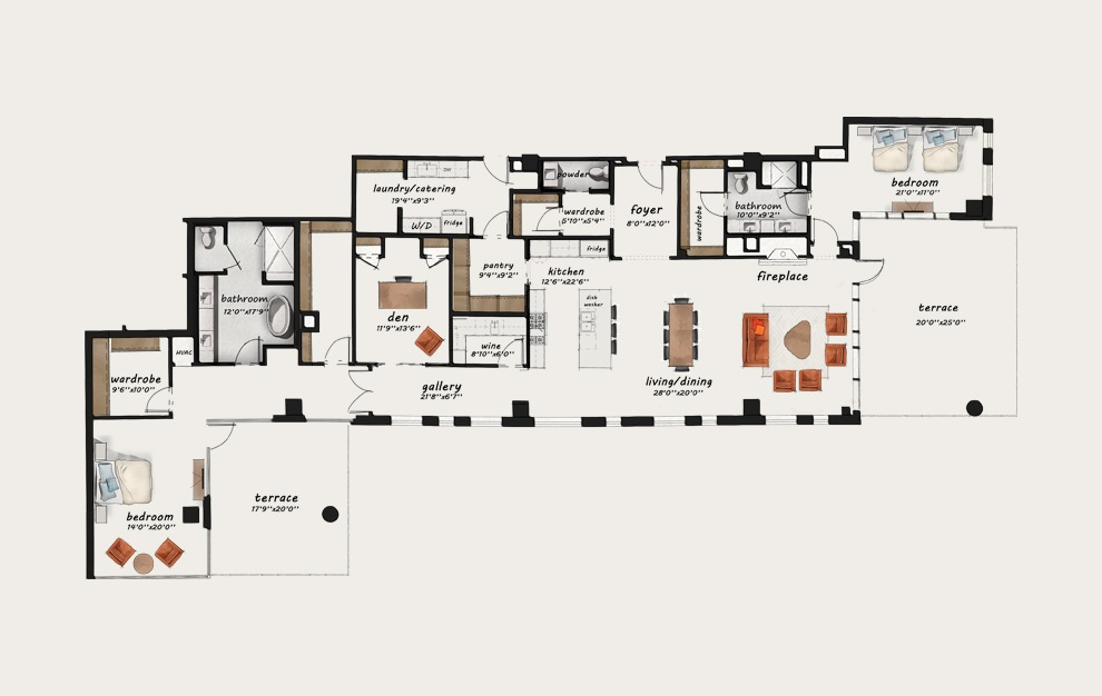 PH10 - 3 bedroom floorplan layout with 2.5 baths and 3267 square feet.