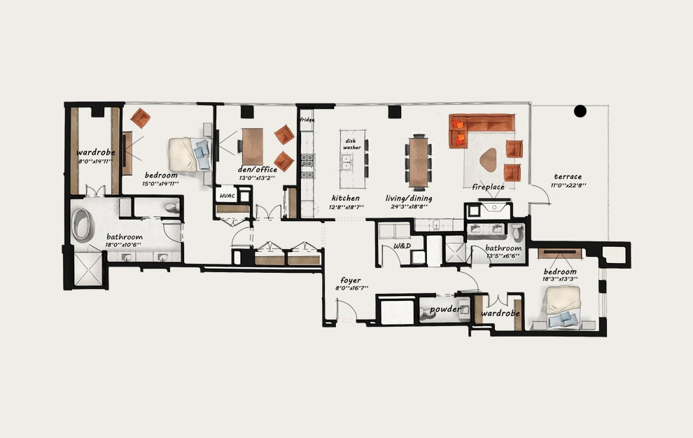 PH11 - 3 bedroom floorplan layout with 2.5 baths and 2472 square feet.