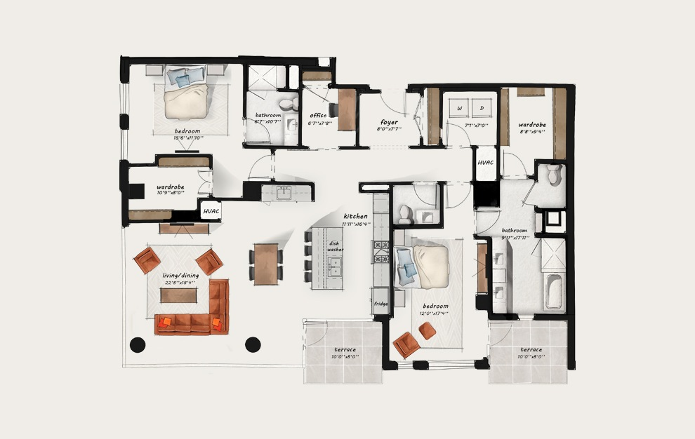 PH2 - 2 bedroom floorplan layout with 2.5 baths and 2097 square feet.
