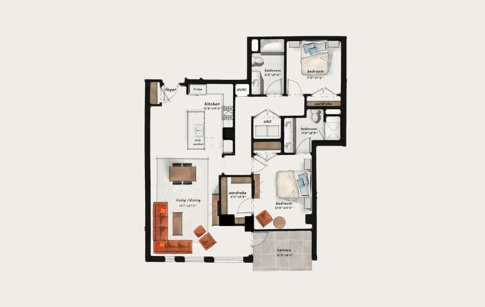 PH3 - 2 bedroom floorplan layout with 2 baths and 1419 square feet.