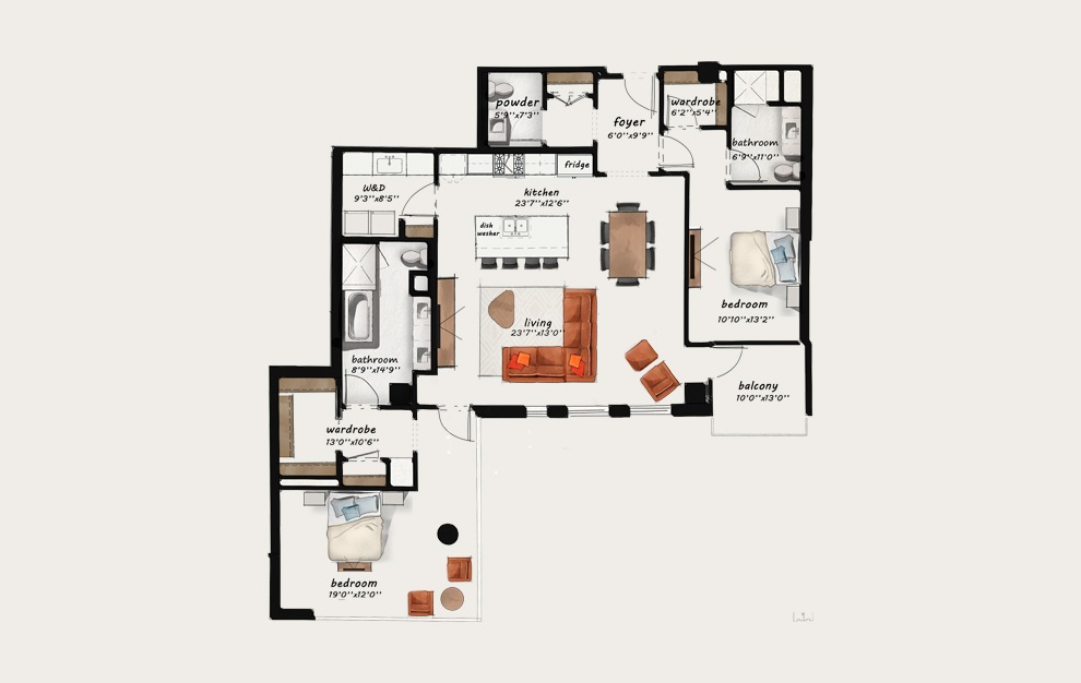 PH4 - 2 bedroom floorplan layout with 2.5 baths and 1769 square feet.