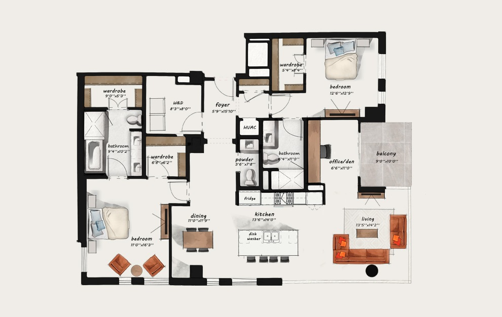 PH5 - 2 bedroom floorplan layout with 2.5 baths and 1751 square feet.