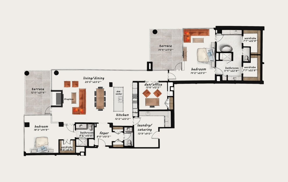 PH8 - 3 bedroom floorplan layout with 2.5 baths and 2874 square feet.