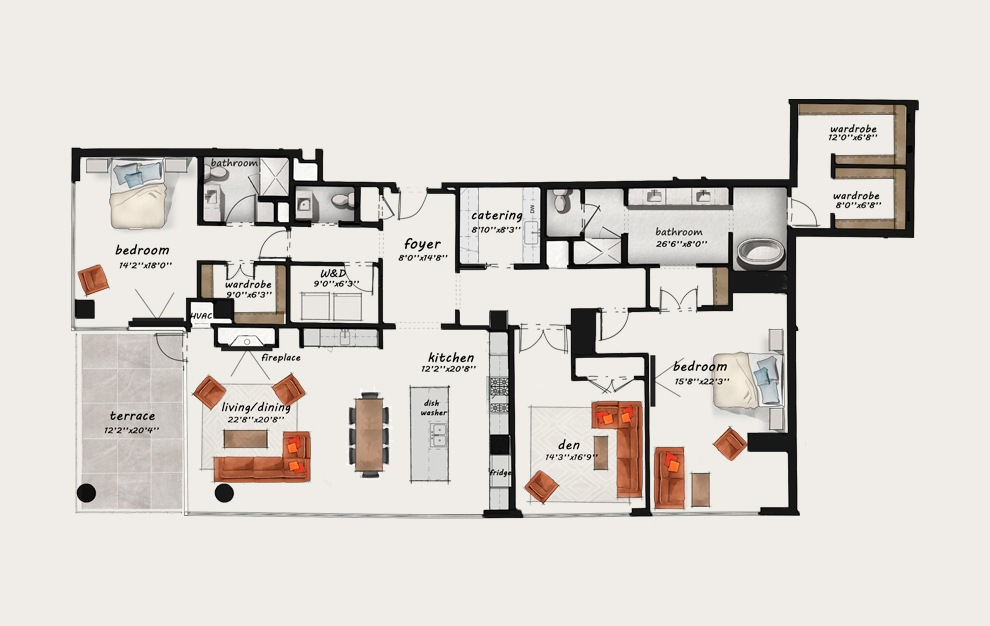 PH9 - 3 bedroom floorplan layout with 2.5 baths and 2877 square feet.