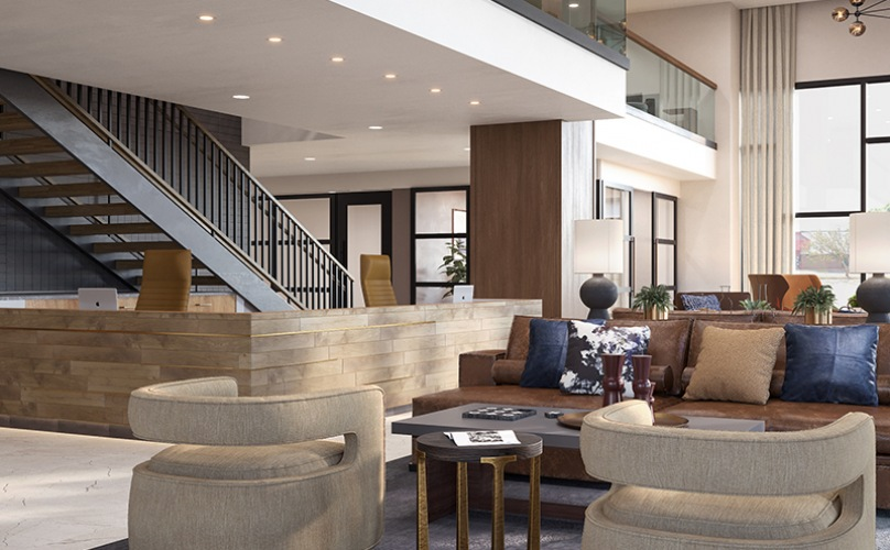 Large well lit multi story lobby with ample seating
