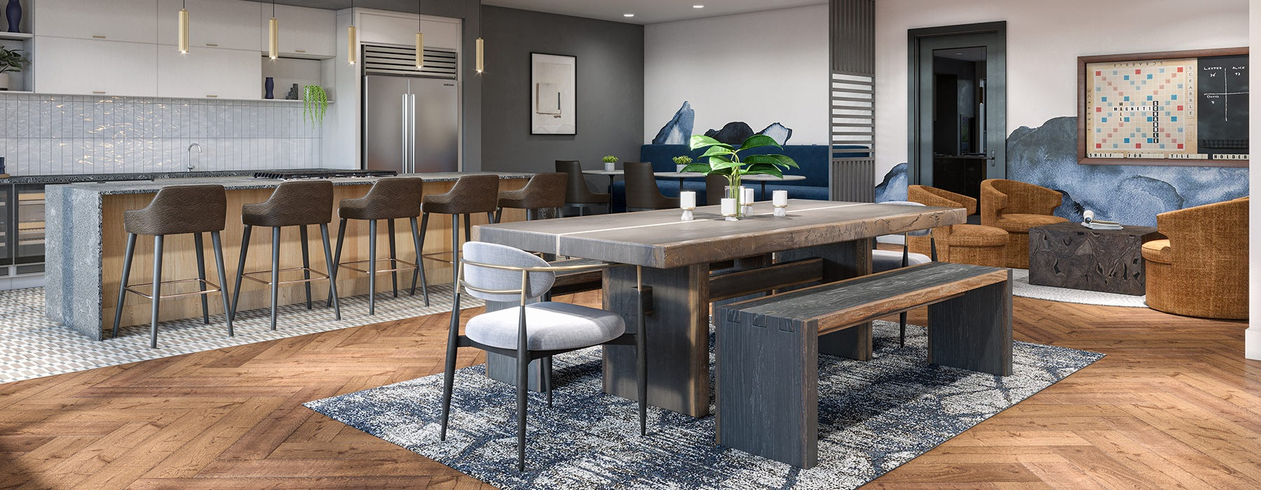 Large lounge area with multiple tables for seating and a full kitchen
