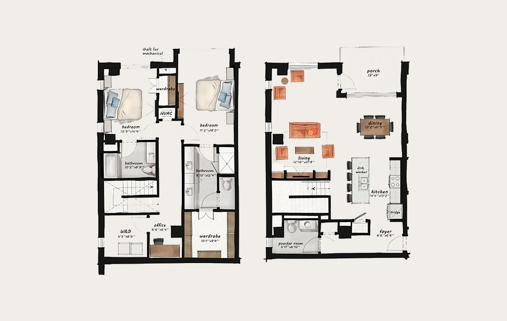 TH1 - 2 bedroom floorplan layout with 2.5 baths and 1990 square feet.