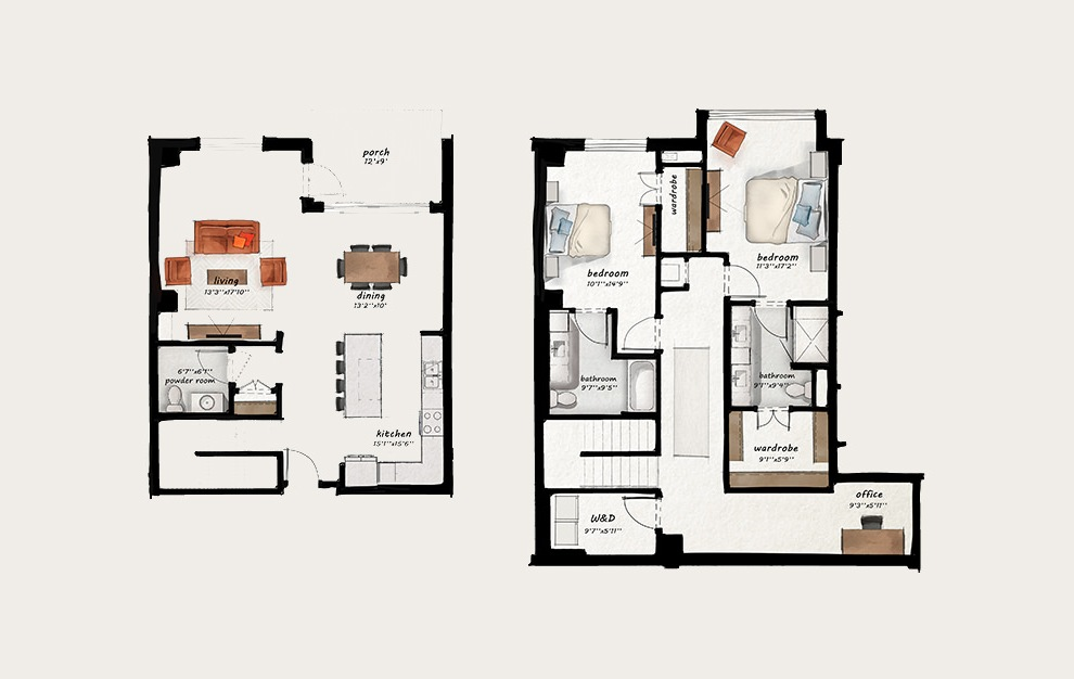 TH2 - 2 bedroom floorplan layout with 2.5 baths and 1944 square feet.