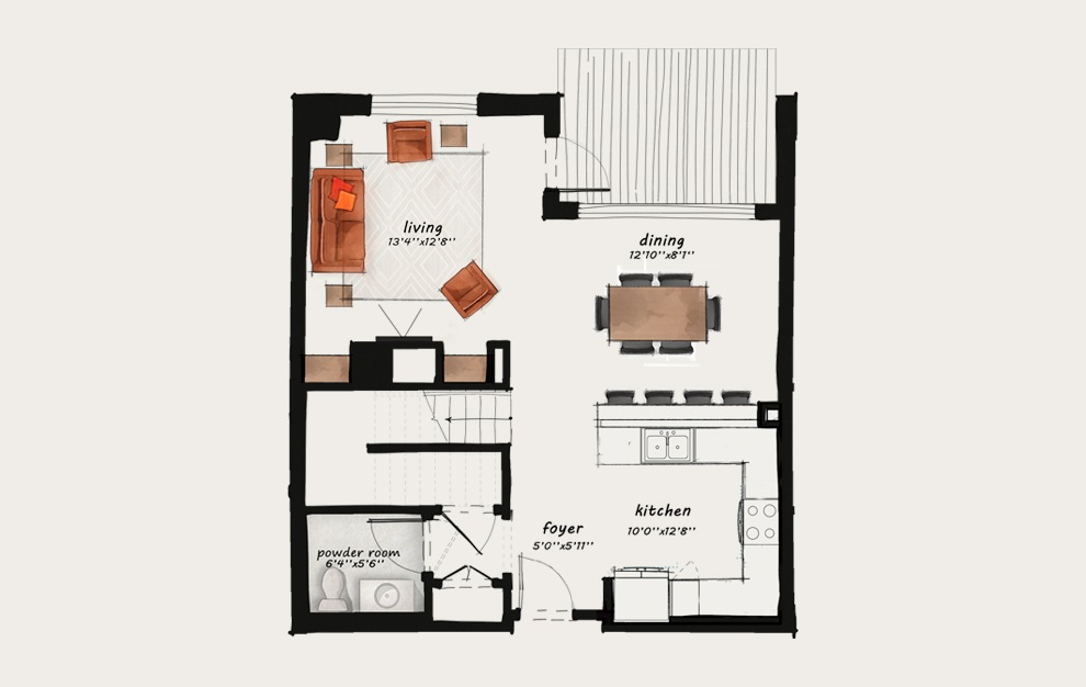 TH3 - 2 bedroom floorplan layout with 2.5 baths and 1582 square feet. (Floor 1)