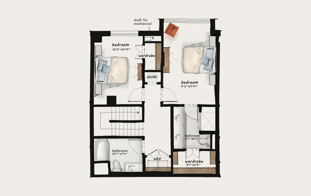 TH3 - 2 bedroom floorplan layout with 2.5 baths and 1582 square feet. (Floor 2)