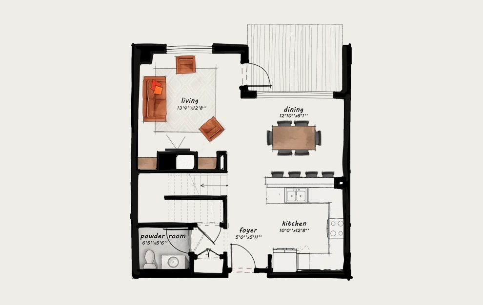 TH4 - 2 bedroom floorplan layout with 2.5 baths and 1582 square feet. (Floor 1)