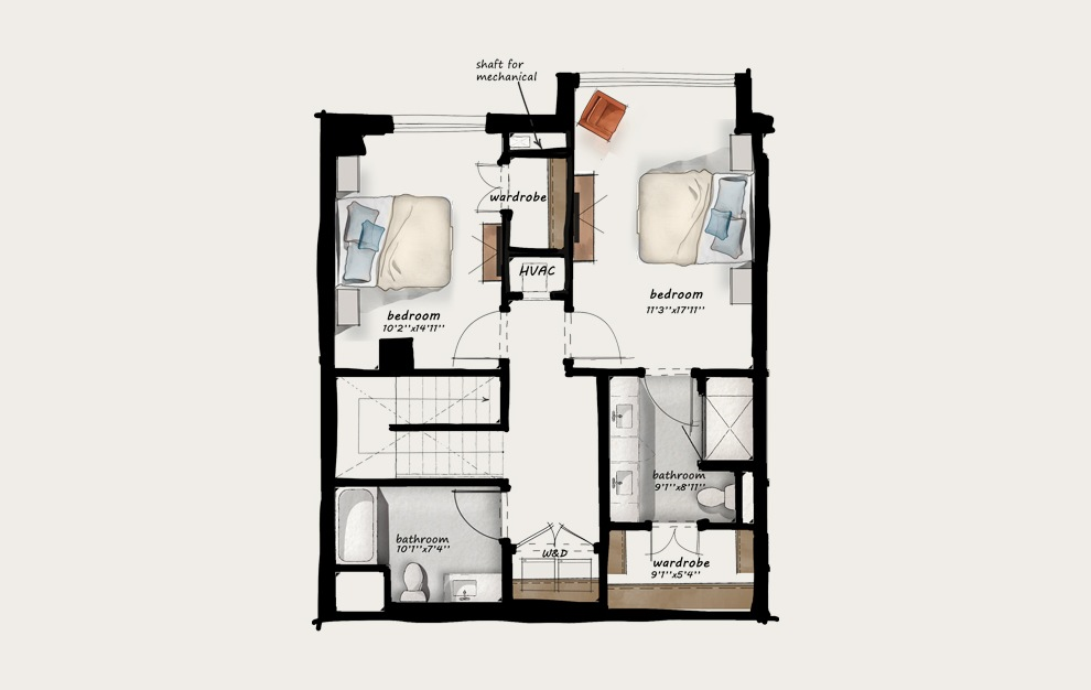 TH4 - 2 bedroom floorplan layout with 2.5 baths and 1582 square feet. (Floor 2)