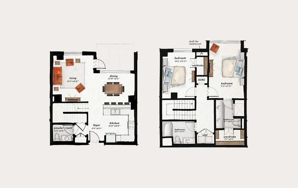 TH5 - 2 bedroom floorplan layout with 2.5 baths and 1596 square feet.